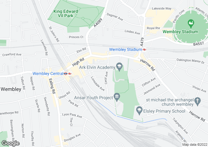 Map for Cecil Avenue, Wembley, HA9