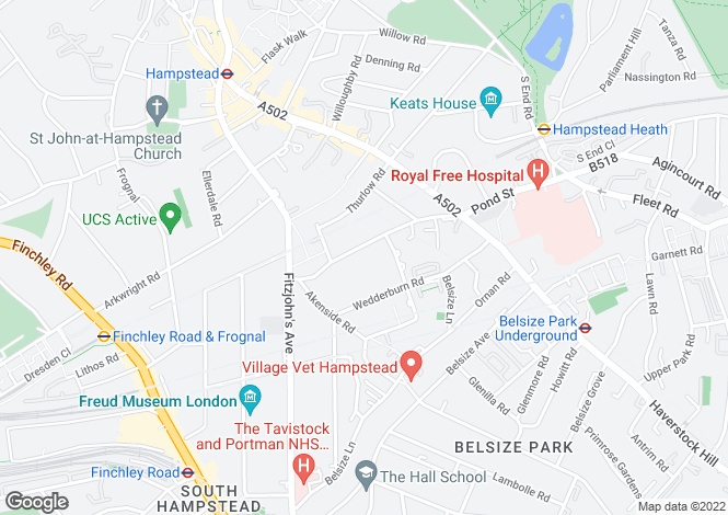 Map for Lyndhurst Road, Hampstead, London, NW3 5NX