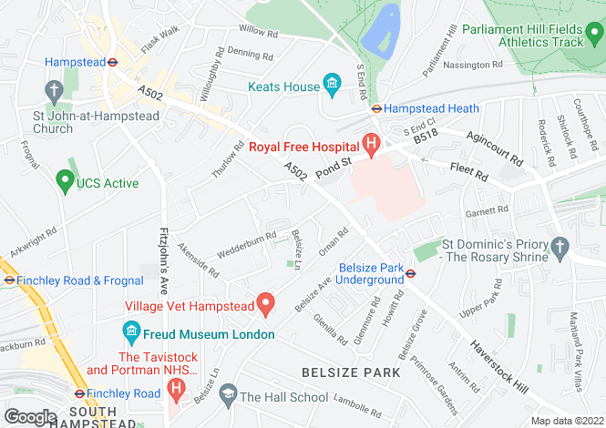 Map for Belsize Lane, Belsize Park, NW3