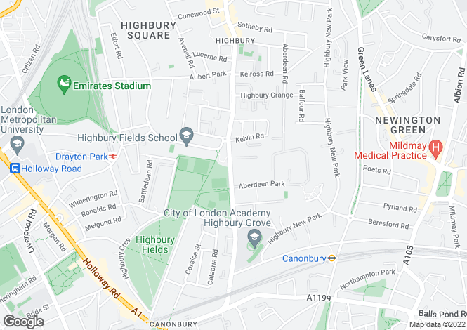 Map for Highbury Grove, N5 2AG