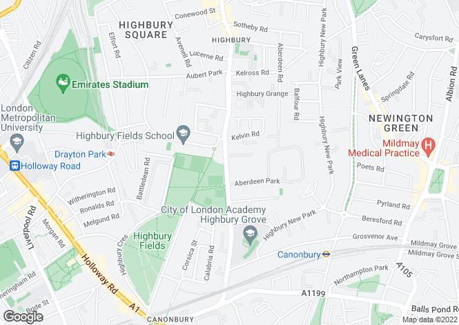 Map for Highbury Grove, Highbury and Islington