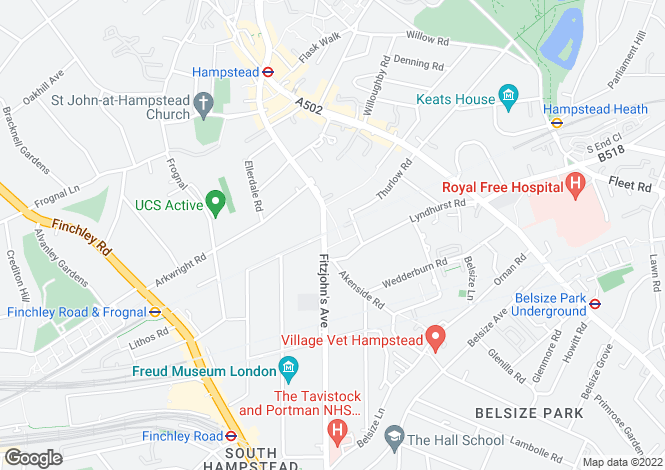 Map for Fitzjohn's Avenue, Hampstead, London, NW3 5LS
