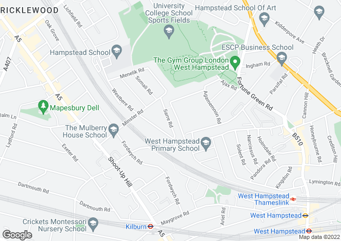 Map for Sarre Road, West Hampstead, NW2