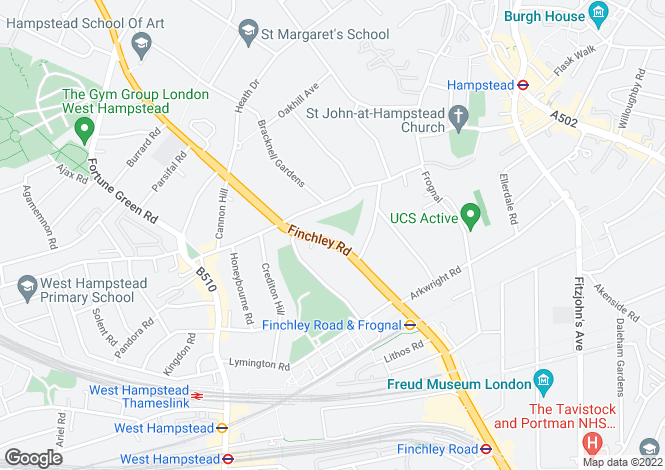 Map for Finchley Road, Hampstead