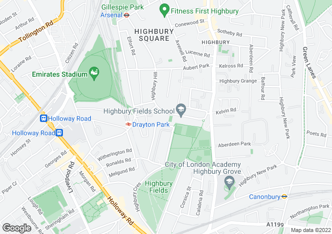 Map for Highbury Hill, Highbury, N5