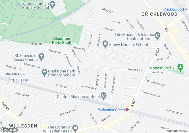 Map for Melrose Avenue, Willesden Green, London, NW2