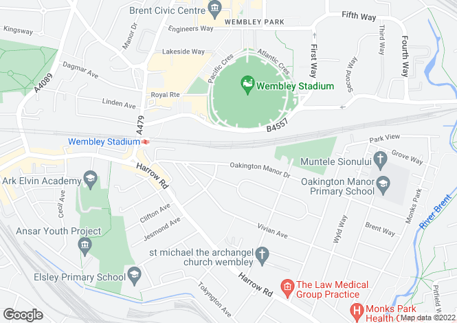 Map for Oakington Manor Drive, WEMBLEY, Middlesex