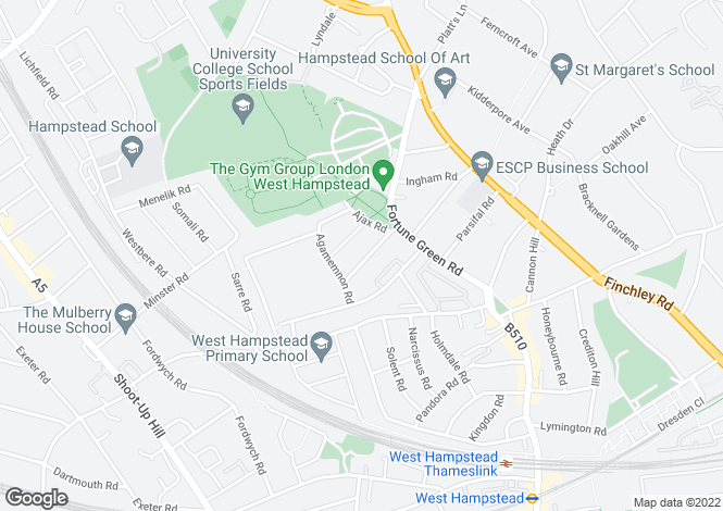 Map for Achilles Road, West Hampstead, London