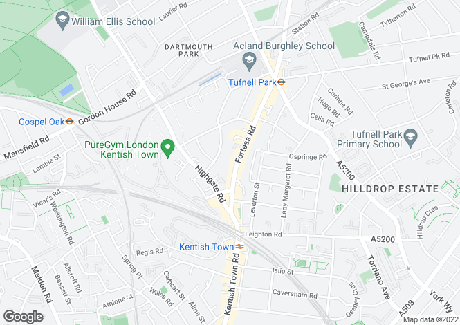 Map for Fortess Road      Kentish Town NW5