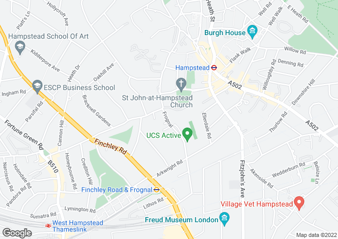 Map for Frognal, Hampstead, Camden, NW3