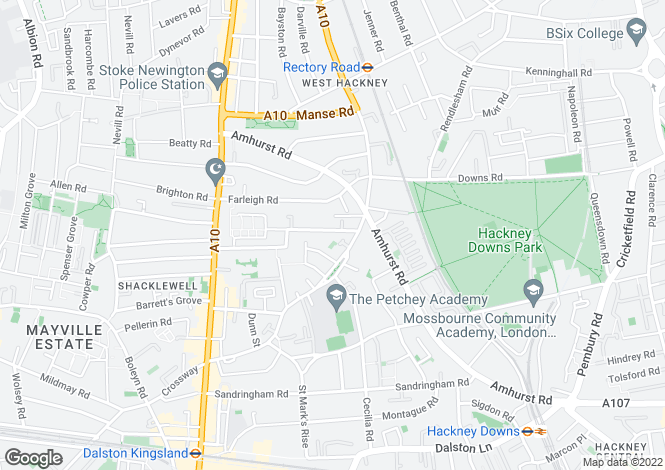 Map for Shacklewell Road, London