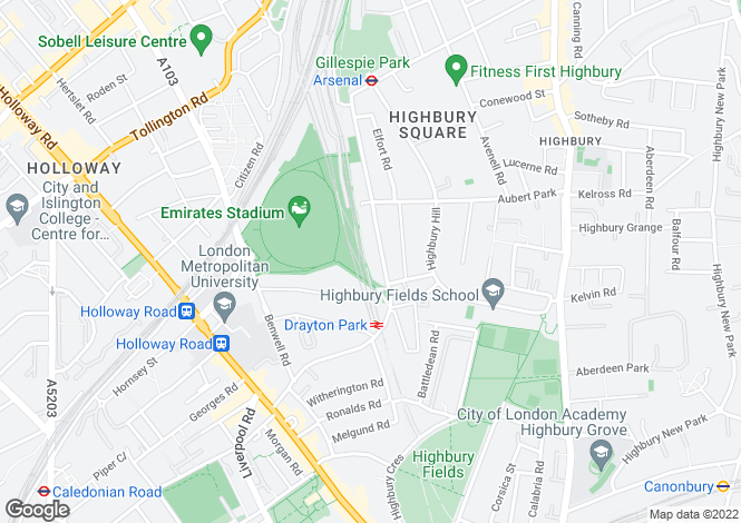 Map for 71C Drayton Park, London