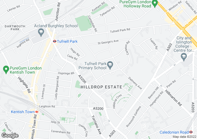 Map for Huddleston Road, Tufnell Park