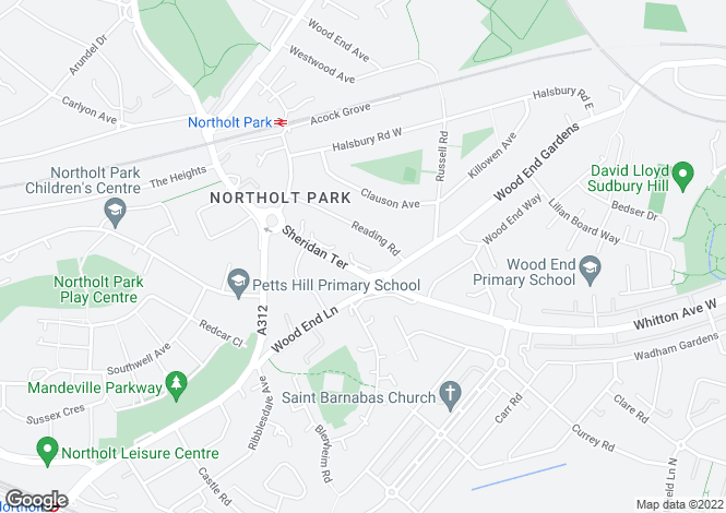 Map for Whitton Avenue West, Northolt, Middlesex