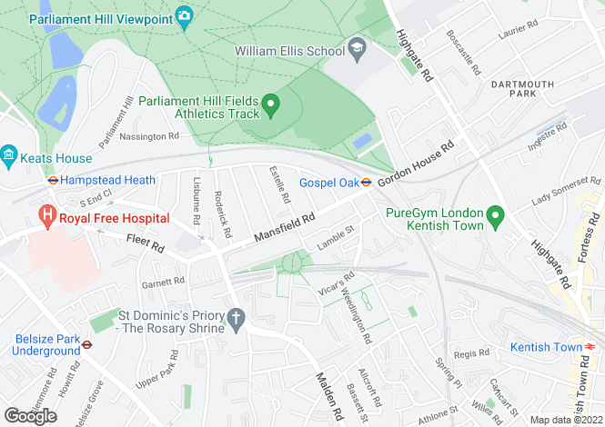 Map for Mansfield Road, South End Green, NW3