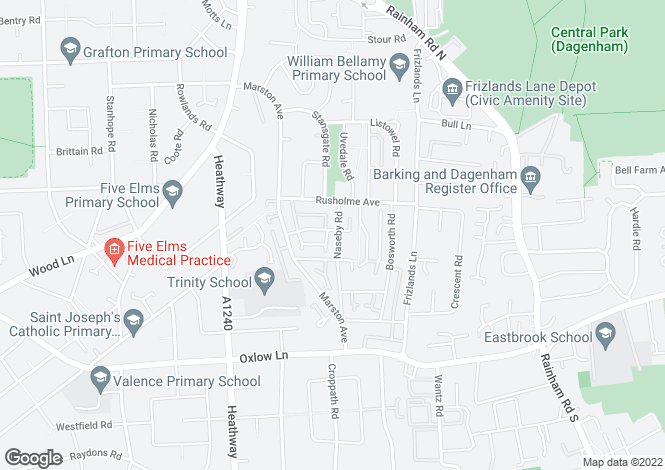 Map for Naseby Road, Dagenham