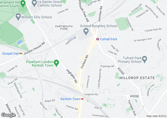 Map for Fortess Road, Tufnell Park, NW5