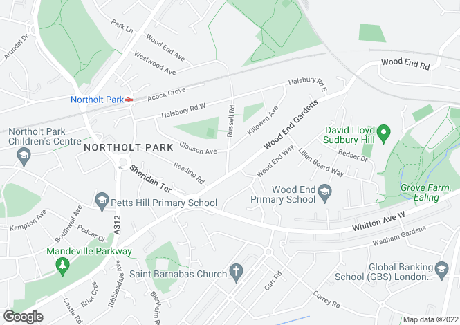 Map for Russell Road, Northolt