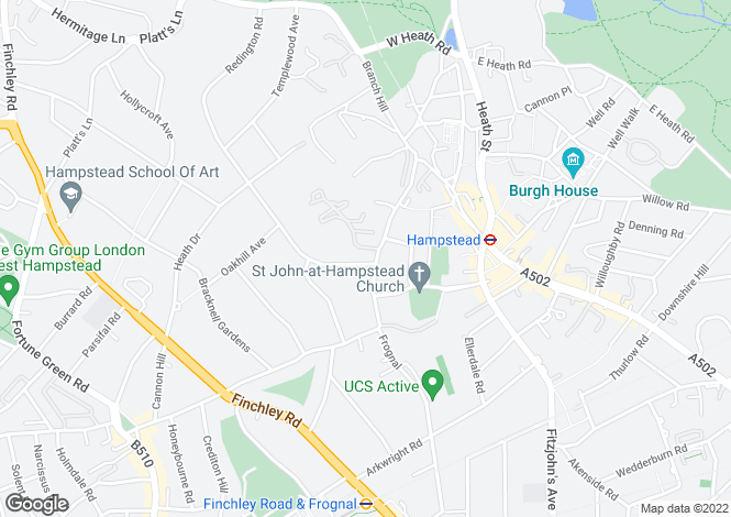 Map for Frognal, Hampstead, NW3