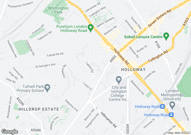 Map for Moriatry Close Holloway N7