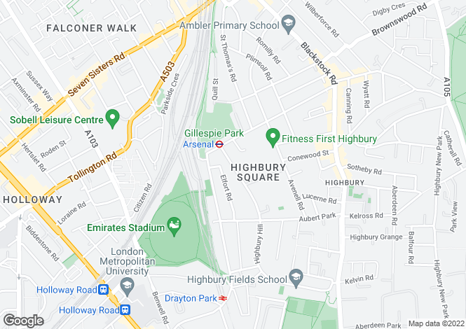 Map for Highbury Hill, Highbury, London  N5 1TB
