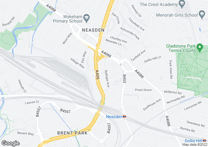 Map for Ballogie Avenue, Neasden, NW10