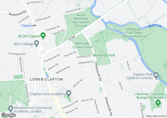 Map for Fletching Road, Hackney, London, E5