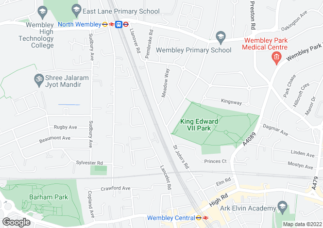 Map for St Johns Road, Wembley, Middlesex