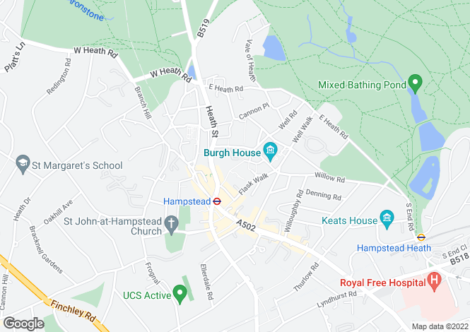 Map for Streatley Place, Hampstead, London, NW3