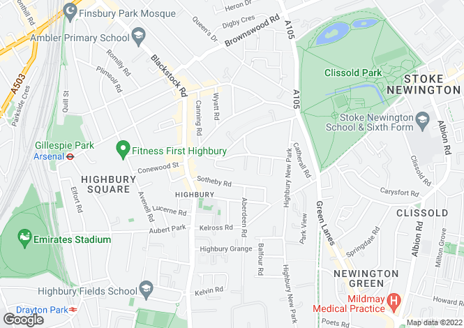 Map for Highbury Quadrant, Highbury