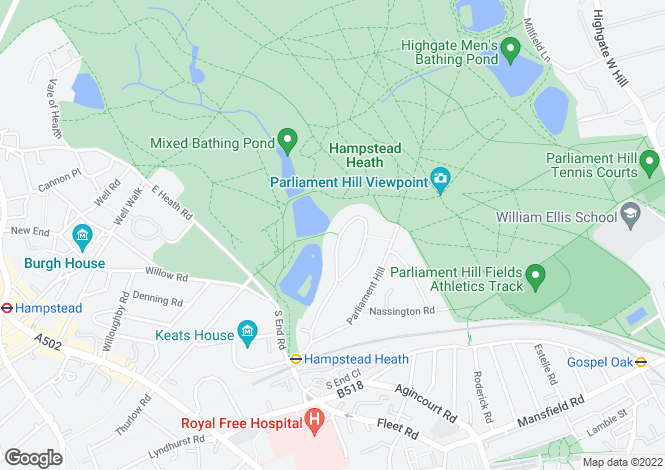 Map for South Hill Park, London NW3