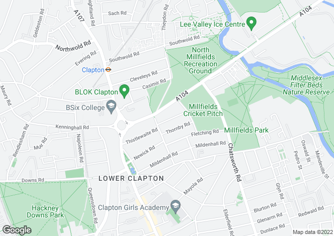 Map for Cotesbach Road, Lower Clapton, London, E5