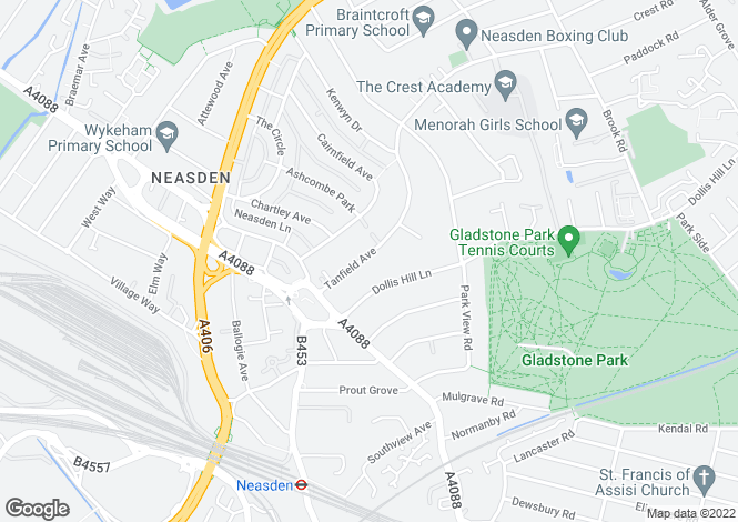 Map for Tanfield Avenue, Neasden