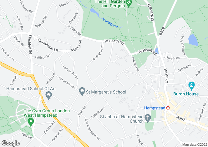 Map for Templewood Avenue, Hampstead, London, NW3
