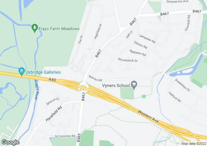 Map for Applewood Close, Ickenham, Uxbridge, Middlesex, UB10