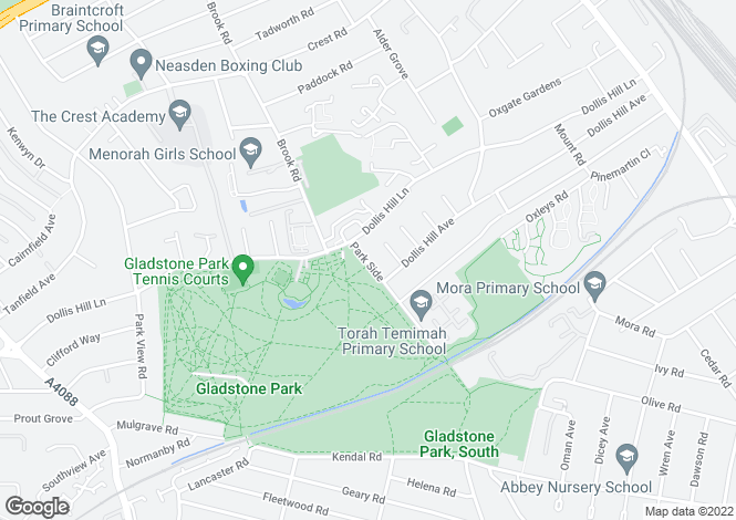 Map for Park Side, Dollis Hill, London, NW2