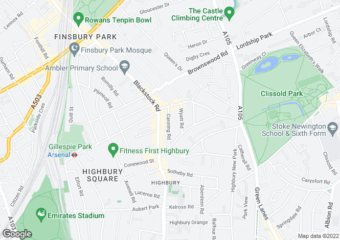 Map for Canning Road, Highbury, N5