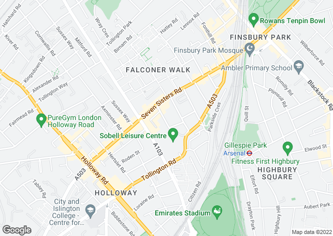 Map for Holloway, London