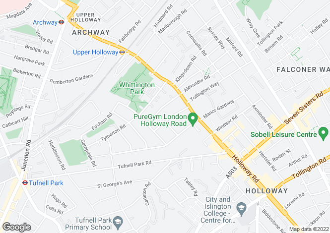 Map for Fairmead Road, Kentish Town, London, N19