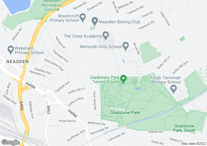 Map for Homestead Park, Dollis Hill