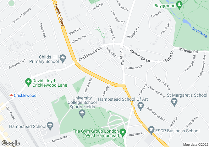 Map for Lyndale Avenue, Hampstead Borders