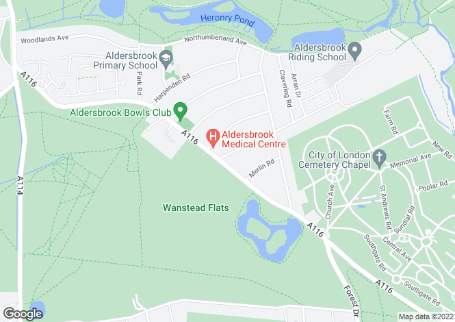Map for Aldersbrook Road, Wanstead, London