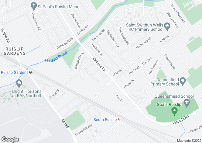 Map for Victoria Road, South Ruislip, Middlesex, HA4