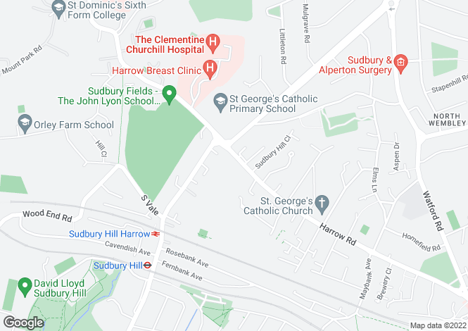 Map for Sudbury Hill