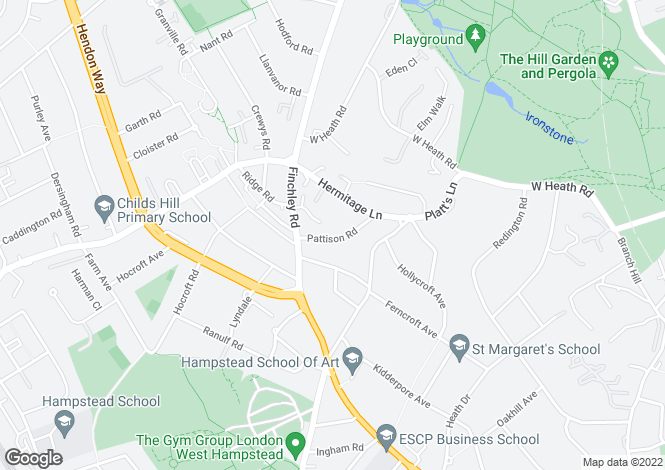 Map for Pattison Road, Child Hill, London NW2 2HL