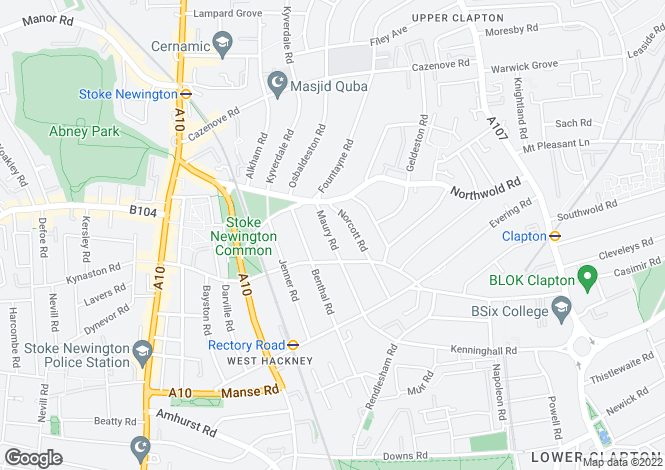 Map for Maury Road, N16