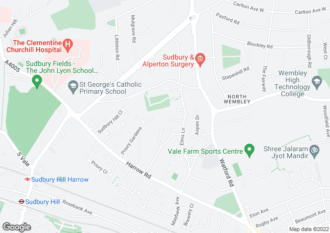 Map for Elmwood Court, WEMBLEY, Middlesex