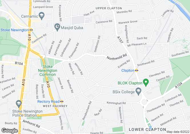 Map for Narford Road, Hackney, London, E5