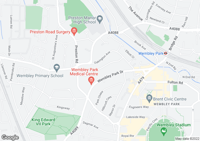 Map for Beechcroft Gardens, WEMBLEY, Middlesex