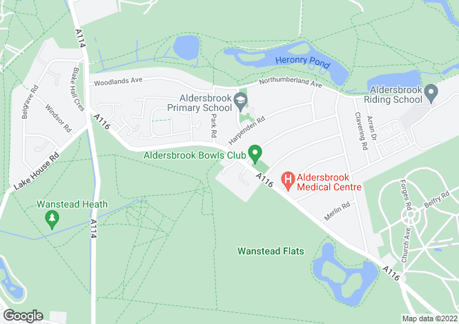 Map for Aldersbrook Road,  Wanstead